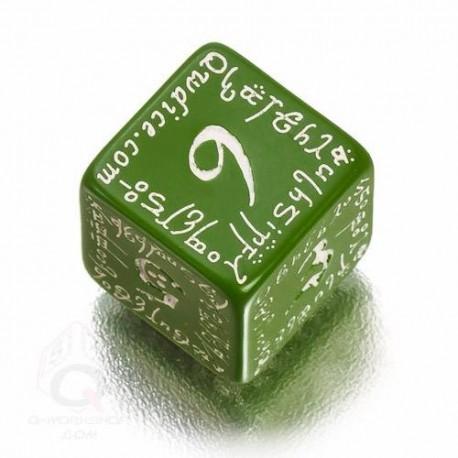 D6 Elvish Green & white Die (1)