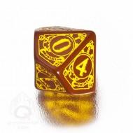 D10 Steampunk Brown & yellow Die (1)
