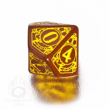 D10 Steampunk Brown & yellow Die (1)