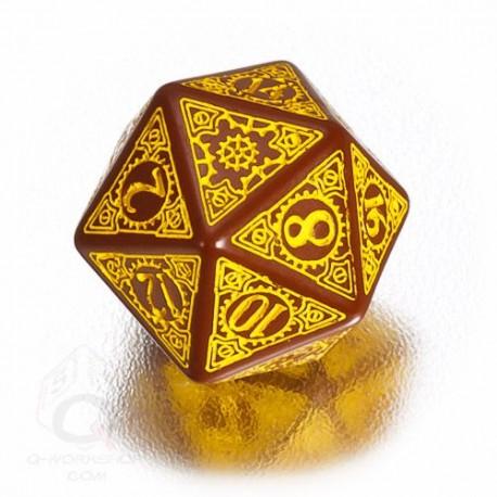 D20 Steampunk Brown & yellow Die (1)