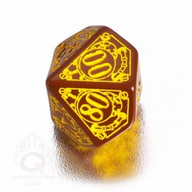 D100 Steampunk Brown & yellow Die (1)