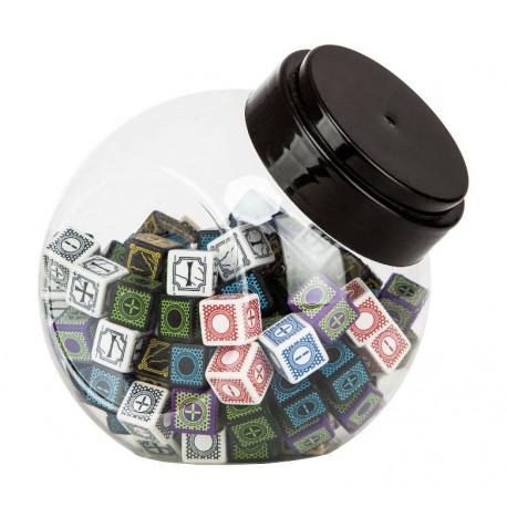 Jar of dice with Antique Fudge and Cyber Fudge D6 dice