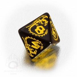 D8 Dragons Black & yellow Die (1)