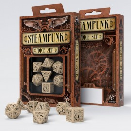 Steampunk Clockwork Beige & brown Dice Set (7)