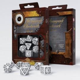 Kości RPG Steampunk Clockwork Czarno-białe (7)