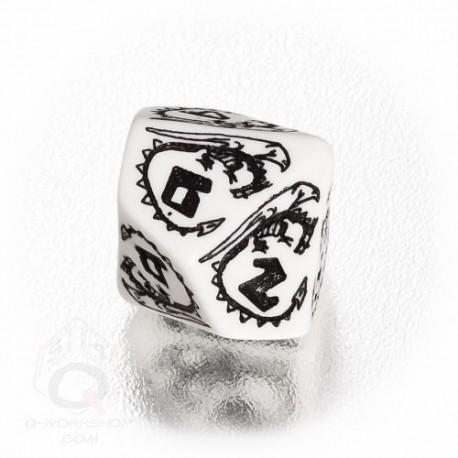 D10 Dragons White & black Die (1)