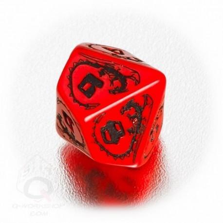 D10 Dragons Red & black Die (1)
