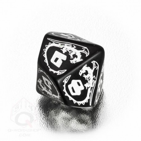 D10 Dragons Black & white Die (1)