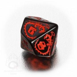D10 Dragons Black & red Die (1)