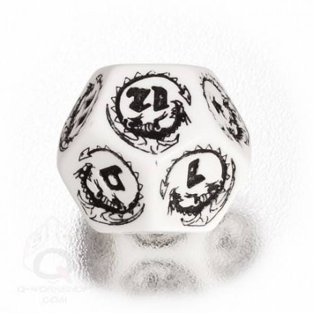 D12 Dragons White & black Die (1)