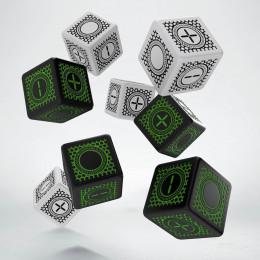 Kości Cyber Fudge 4D6 czarno-zielone + 4D6 w losowym kolorze (8)