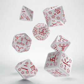 Kanji White & red Dice Set (7)