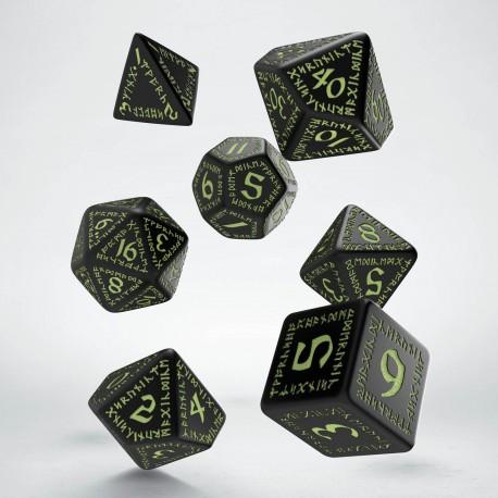 Runic Black & glow-in-the-dark Dice Set (7)