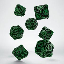 Tech Green & black Dice Set (7)