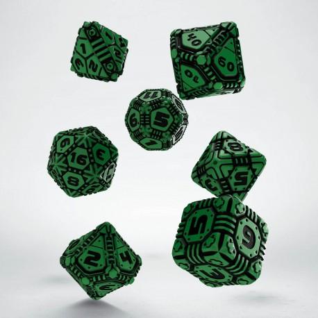 Kości RPG Tech Zielono-czarne (7)