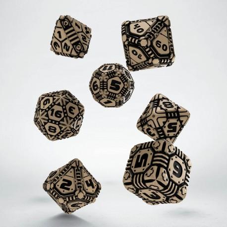 Kości RPG Tech Beżowo-czarne (7)