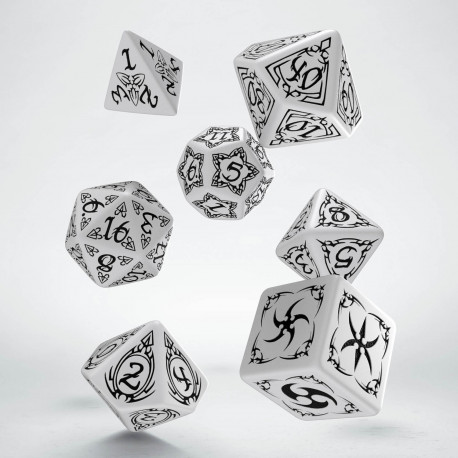 Tribal White & black Dice Set (7)