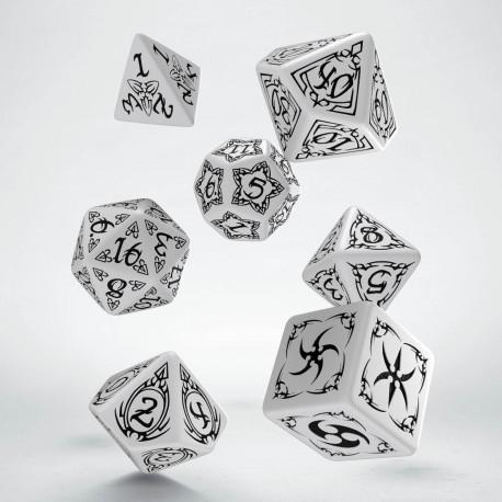 Kości RPG Tribal Biało-czarne (7)