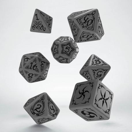 Kości RPG Tribal Szaro-czarne (7)