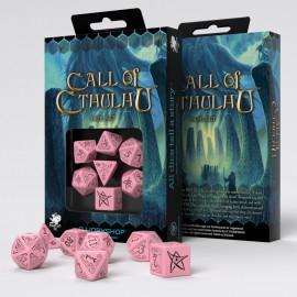 Kości RPG Zew Cthulhu Różowo-czarne (7)