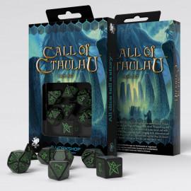 Kości RPG Zew Cthulhu Czarno-zielone (7)