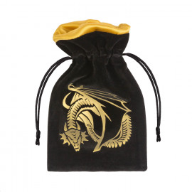 Dragon Black & golden Velour Dice Bag