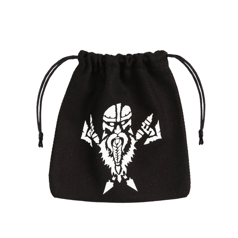 Dwarven Black White Dice Bag
