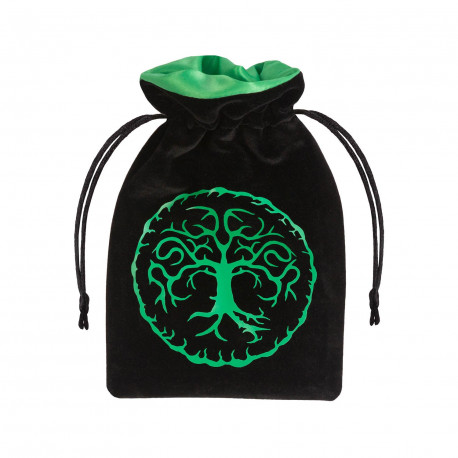 Forest Black Green Velour Dice Bag