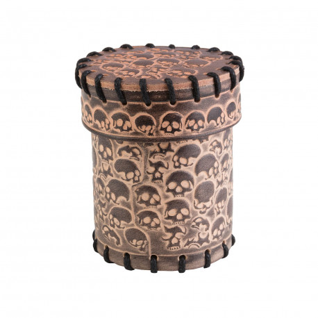 Skully Beige Leather Dice Cup