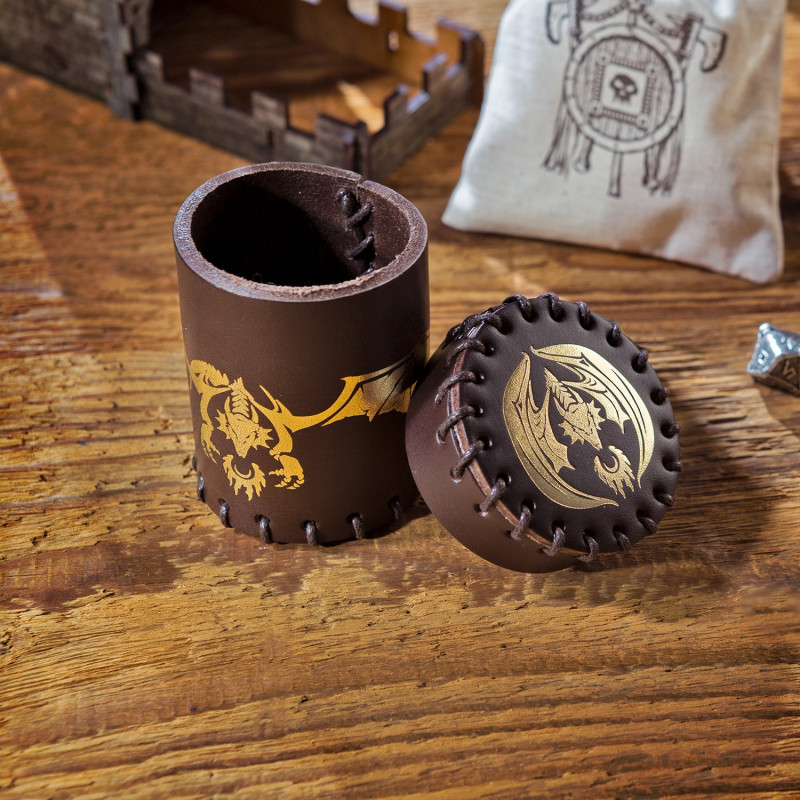 Q WORKSHOP Steampunk Brown /& golden Leather Dice Cup