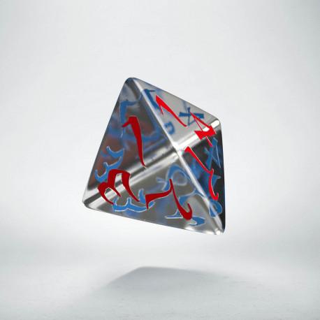 D4 Classic Translucent Blue & red Die