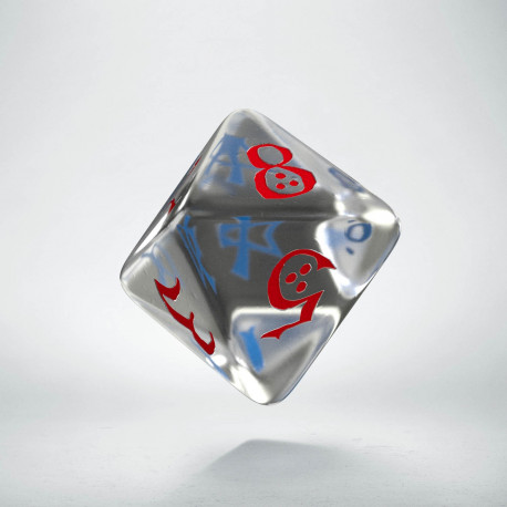 D8 Classic Translucent Blue & red Die