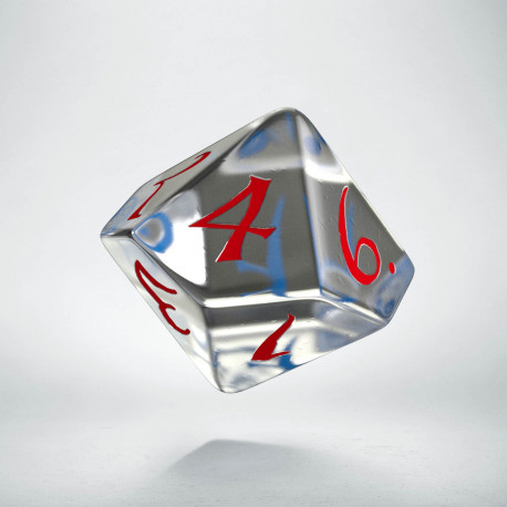 D10 Classic Translucent Blue & red Die