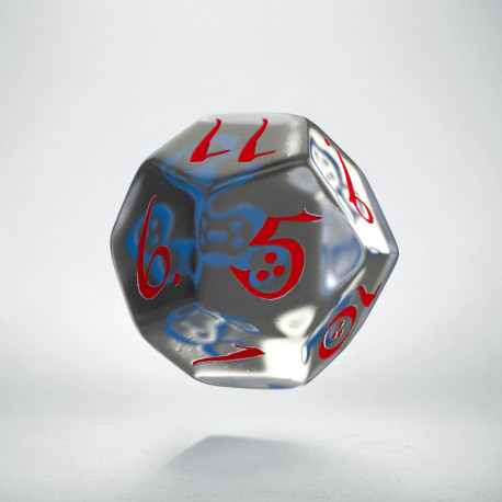 D12 Classic Translucent Blue & red Die