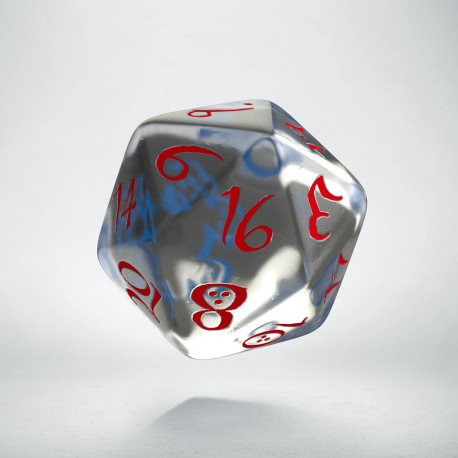 D20 Classic Translucent Blue & red Die