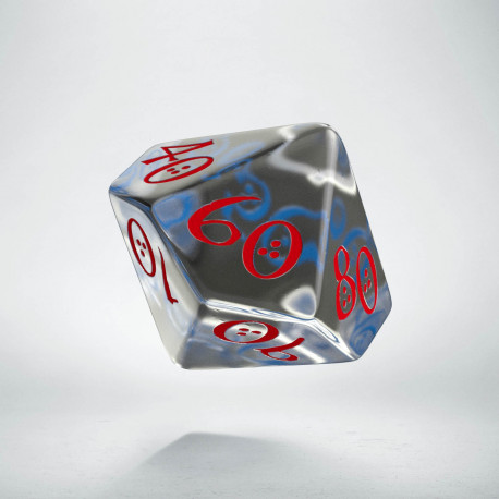 D100 Classic Translucent Blue & red Die