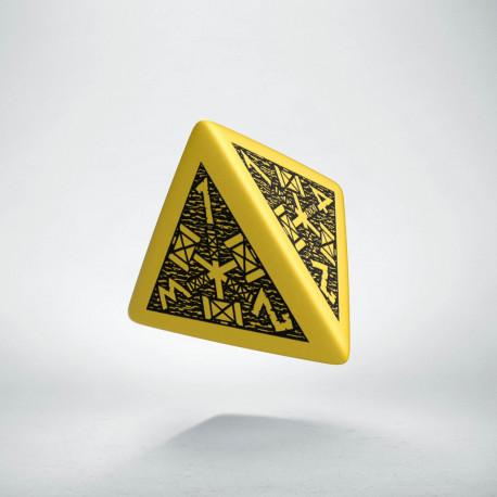 D4 Dwarven Yellow & black Die
