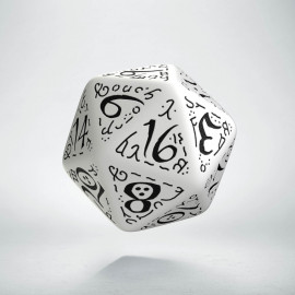 D20 Elvish White & black Die (1)