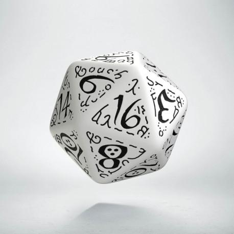 D20 Elvish White & black Die
