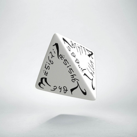 D4 Elvish White & black Die