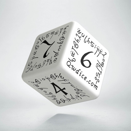 D6 Elvish White & black Die