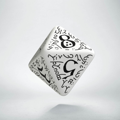 D8 Elvish White & black Die