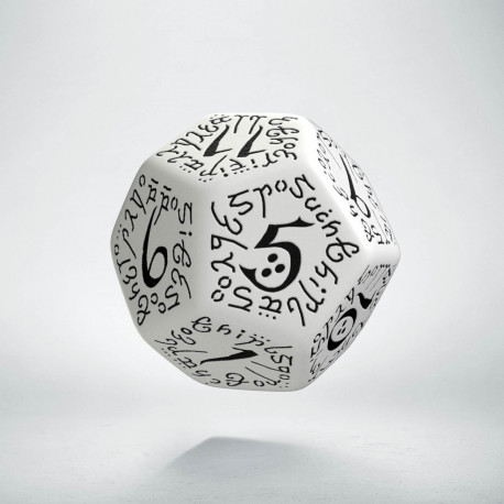 D12 Elvish White & black Die