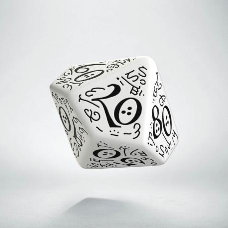 D100 Elvish White & black Die