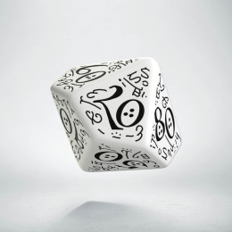 D100 Elvish White & black Die (1)