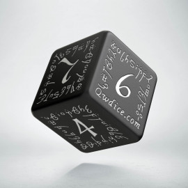 D6 Elvish Black & white Die (1)