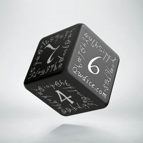 D6 Elvish Black & white Die