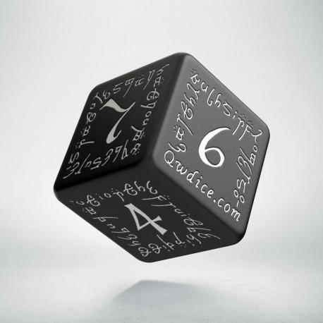 D6 Elvish Black & white Die