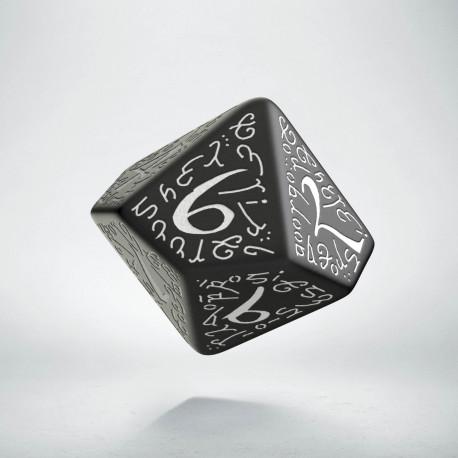 D10 Elvish Black & white Die
