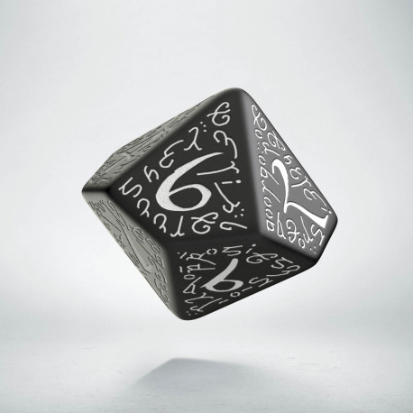 D10 Elvish Black & white Die